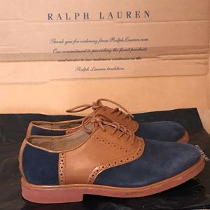 Polo Ralph Lauren Blue Suede Brown Leather Shoes